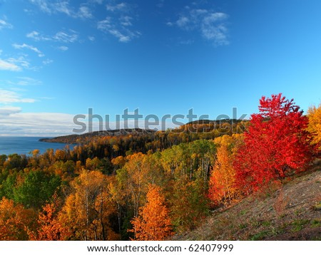 Scenic landscape in Minnesota, north shore of Lake Superior during autumn time - stock photo