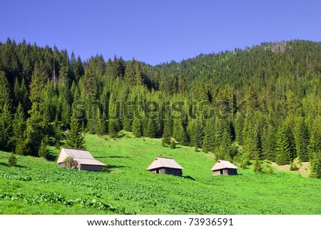 Scenic landscape in the Tatra Mountains in Poland, simple wooden cabins on the meadow - stock photo