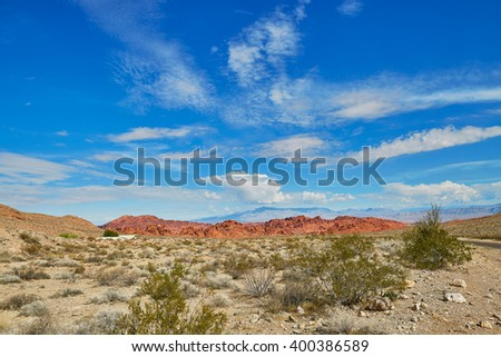 Scenic landscape in Valley of the Fire  park in Nevada, USA