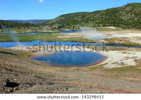 Scenic landscape in Yellowstone National Park, Wyoming, USA. - stock photo