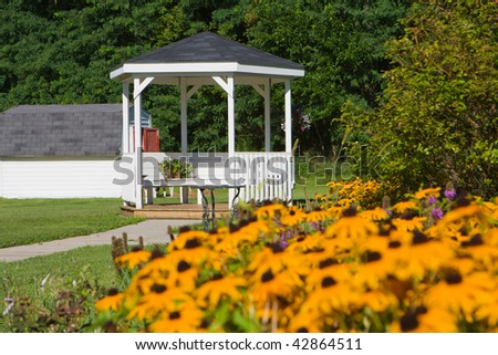 Scenic landscape of a gazebo commonly used for weddings. - stock photo