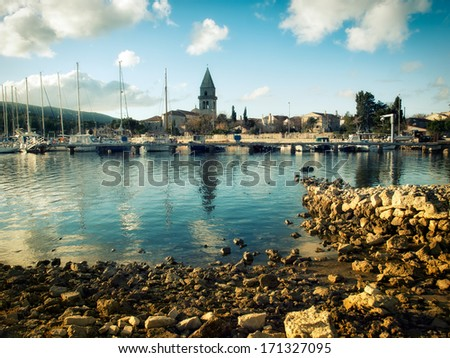 Scenic landscape of a small historic town known as Osor, island Cres, Croatia. - stock photo