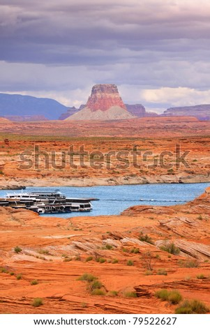 Scenic landscape of lake Powell recreation area - stock photo