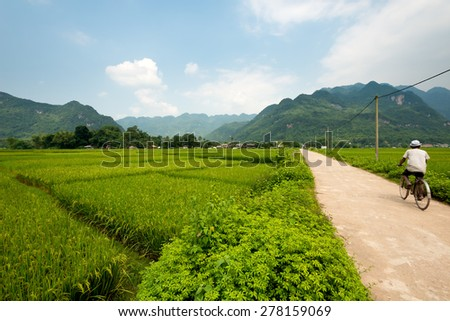 Scenic landscape of Mai Chau, Vietnam - stock photo