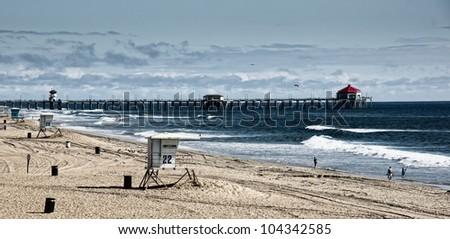 "Scenic landscape of ""Surf City's"" Huntington Beach Pier - stock photo"