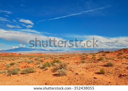 Scenic landscape of Valley of the Fire national park in Nevada, USA