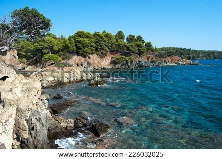 Scenic landscape overlooking the Mediterranean Sea at Sithonia, Chalkidiki