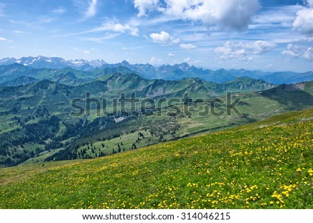 Scenic Landscape View of Alpine Mountain Range from Grassy Hillside Flower Field on Sunny Day with Blue Sky - stock photo