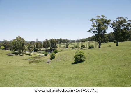 Scenic landscape view of rural farming land, New South Wales, Australia