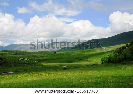 Scenic landscape with cumulus clouds - stock photo