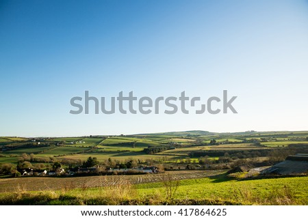 Scenic landscape with green hills