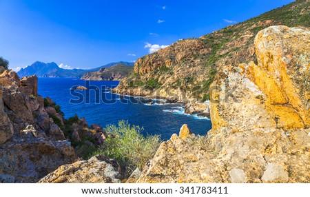 scenic landscapes of Corsica - stock photo