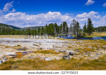 Scenic Landscapes of Geothermal activity of Yellowstone National Park USA - Biscuit Basin - stock photo