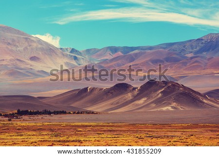 Scenic landscapes of Northern Argentina. Instagram filter. - stock photo