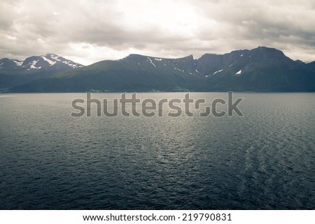 scenic landscapes of the northern Norwegian fjords.  - stock photo