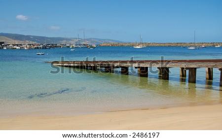 Scenic launching ramp in marina - stock photo