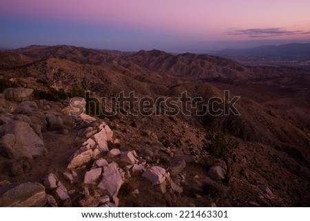 Scenic Little San Bernardino Mountains and Coachella Valley View. Salton Sea and Santa Rosa Mountains in a Distance. Southern California, United States. - stock photo