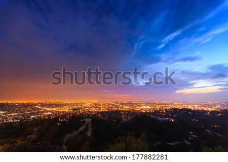 Scenic Los Angeles city cityscape at twilight. - stock photo