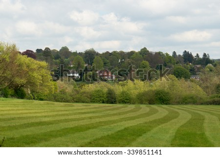 Scenic lush, rural landscape in Surrey, UK - stock photo