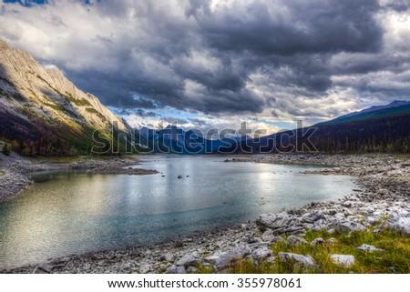 Scenic Medicine Lake Jasper National Park Alberta Canada - stock photo