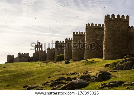 Scenic medieval city walls of Avila, Spain, UNESCO list - stock photo