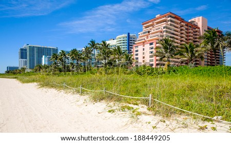 Scenic Miami Beach on a sunny day with condos and resort hotels. - stock photo