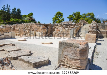 Scenic Minoan palace of Phaistos in Crete (Greece) - stock photo