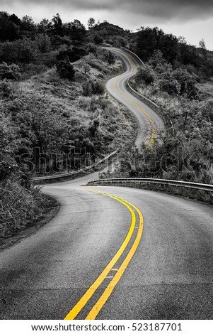 Scenic monochrome view of narrow curvy road and rural landscape with selective color, Kauai, Hawaii, USA
