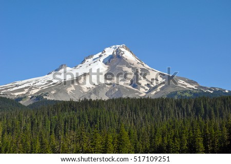 Scenic Mount Hood against blue sky in Oregon, USA
