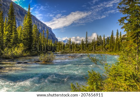 Scenic mountain hiking views, Berg Lake Trail, Mount Robson Provincial Park British Columbia Canada - stock photo