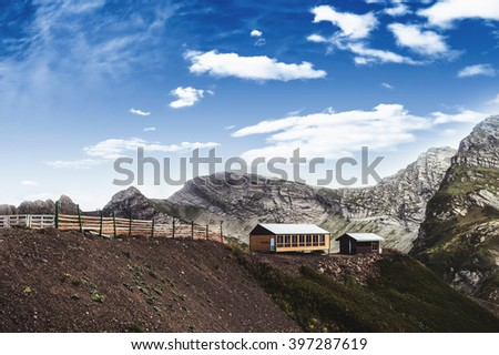 Scenic mountain landscape. Peak of the mountain