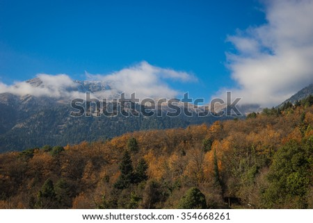 Scenic mountain landscape with snow on Peloponnese, Greece