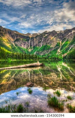 Scenic mountain views, Avalanche Lake, Glacier National Park Montana USA