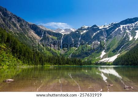 Scenic mountain views, Avalanche Lake, Glacier National Park Montana USA - stock photo