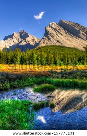 Scenic Mountain Views, Elbow Lake area, Peter Lougheed Provincial Park, Alberta Canada - stock photo