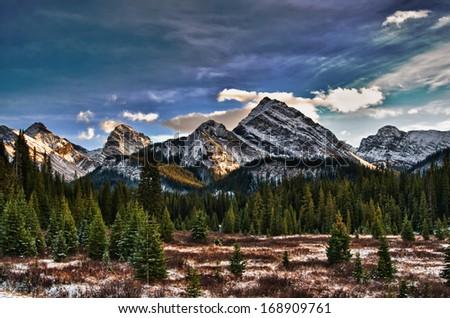 Scenic mountain views, Kananaskis Country Alberta Canada in Autumn - stock photo