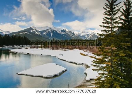 Scenic mountain views of Banff National Park Alberta Canada - stock photo