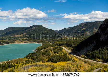 Scenic mountain views of Barrier Lake in Kananaskis Country Alberta Canada in summer - stock photo