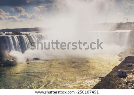 Scenic Niagara Falls, Ontario, Canada with a Vintage Color Filter Effect - stock photo