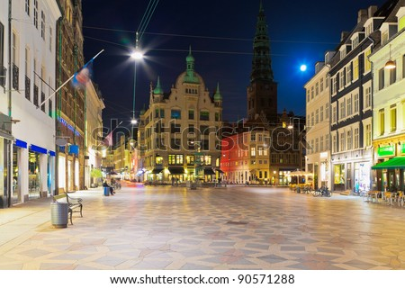 Scenic night view of the Old Town in Copenhagen, Denmark - stock photo