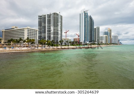 Scenic North Miami Beach skyline with condos and resort hotels. - stock photo