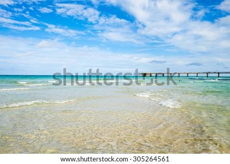 Scenic North Miami Beach with fishing pier. - stock photo