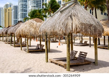Scenic North Miami Beach with tiki huts, condos and resort hotels. - stock photo