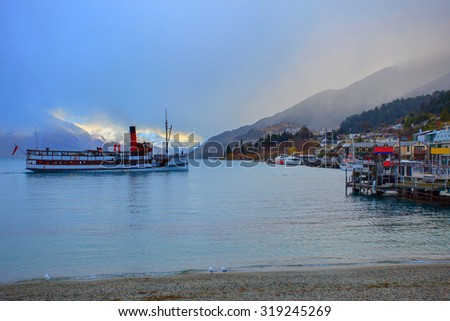 scenic of beautiful landscape wakatipu lake in queen town south island of new zealand - stock photo