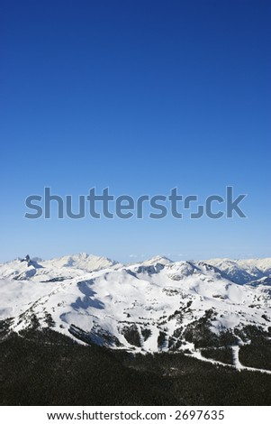 Scenic of ski trails on mountain in Whistler, British Columbia, Canada. - stock photo