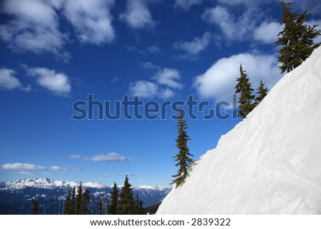 Scenic of snow-covered mountain side in Whistler, British Columbia, Canada.