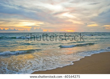 Scenic of sunset at the beach