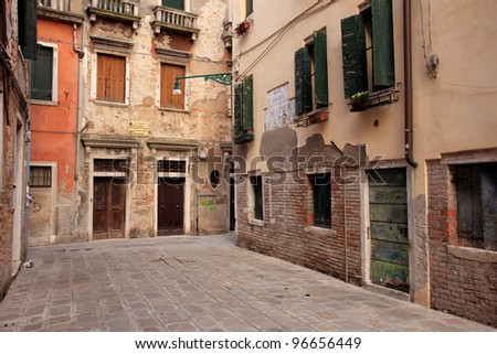 Scenic old streets in Venice, the lagoon of Italy - stock photo