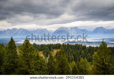 Scenic Overlook at Grand Teton National Park - stock photo