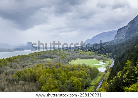 Scenic Overlook of Columbia River Gorge in Oregon - stock photo